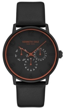 Kenneth Cole New York Men's Black Genuine Leather Strap Watch, 42mm