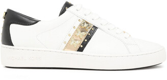 MICHAEL Michael Kors Embellished Metallic Striped Leather Sneakers