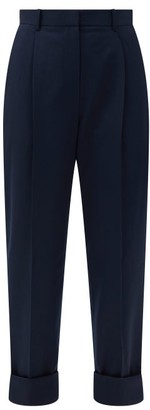 The Row Marta High-rise Wool-twill Tapered Trousers - Blue