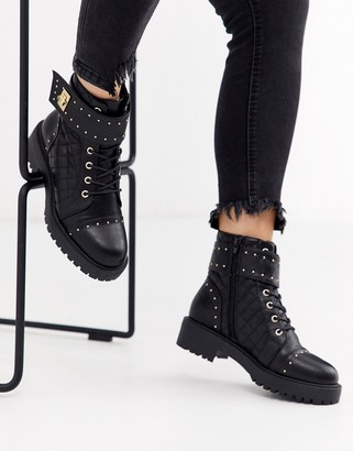 Asos Design DESIGN Annabel studded lace up boots in black