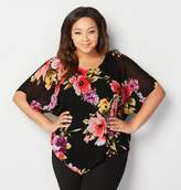 Avenue Dark Floral Split Back Poncho