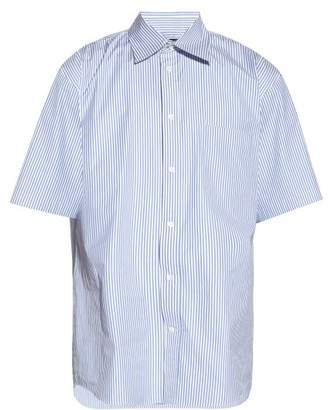 Balenciaga Striped Cotton-poplin Shirt - Mens - Blue White