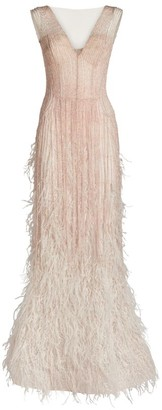 Mikael D Feather-Embellished Sleeveless Gown