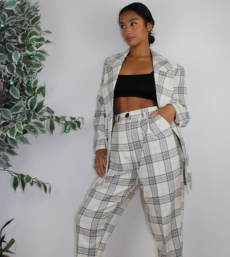 ASOS DESIGN Petite slim suit pants in light based check