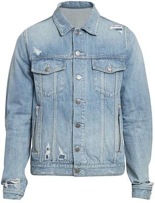 Balmain Monogram-Back Denim Jacket
