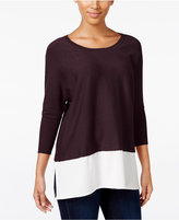 Style&Co. Style & Co. Dolman Sleeve Woven-Hem Sweater, Only at Macy's