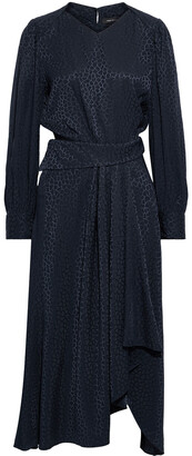 Isabel Marant Romina Pleated Silk-blend Satin-jacquard Midi Dress