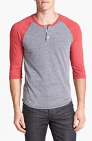 Alternative Men's Trim Fit Heathered Raglan Henley