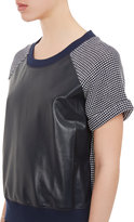 Sea Leather & Knit Short-Sleeve Sweater