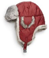 Crown Cap Rabbit-Trimmed Iridescent Twill Aviator Hat