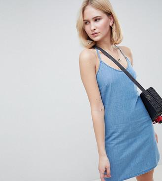 ASOS DESIGN Tall denim slip dress with low back in midwash blue