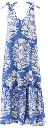 Juliet Dunn Tie-shoulder Floral-print Cotton Maxi Dress - Blue White