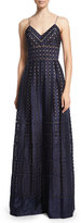 Catherine Deane Spotted Organza Spaghetti-Strap Gown, Navy