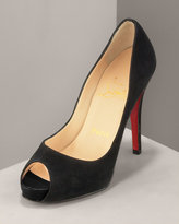 Suede Peep-Toe Pump