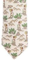 Hermes Traveler Print Silk Tie