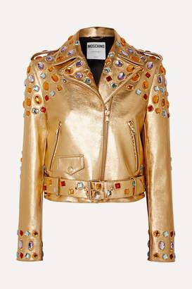 Moschino Crystal-embellished Metallic Leather Jacket - Gold