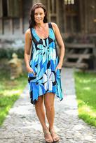 Hand Painted Floral Dress, 'Harmony in Blue'