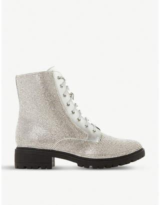 Dune Paragon diamanté embellished leather boots