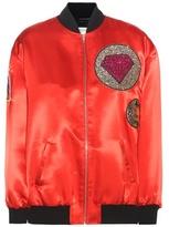 Saint Laurent Satin bomber jacket with appliqué