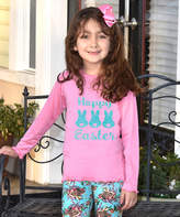 Beary Basics Pink 'Happy Easter' Bunny Trio Long-Sleeve Tee - Toddler & Girls
