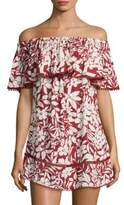 Red Carter Off-The-Shoulder Cotton Cover Up Dress