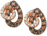 LeVian Le Vian White and Chocolate Diamond Teardrop Earrings in 14k Rose Gold (1/2 ct. t.w.)