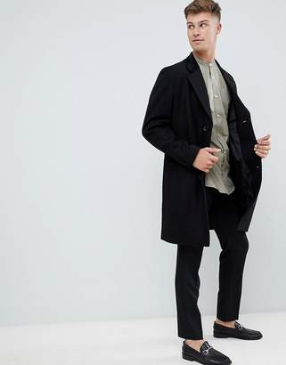French Connection premium wool blend overcoat with velvet collar-Black