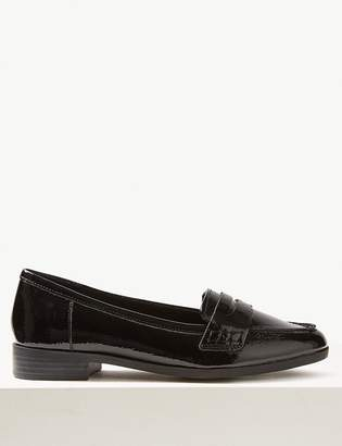 M&S CollectionMarks and Spencer Wide Fit Leather Patent Loafers