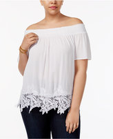 INC International Concepts Plus Size Lace-Hem Off-The-Shoulder Top, Created for Macy's