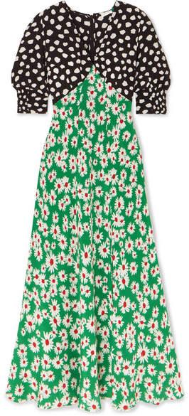 Rixo Martha Printed Silk Crepe De Chine Midi Dress - Green