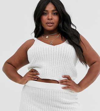 Asos DESIGN Curve co-ord knitted singlet in stitch detail