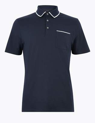 Marks and Spencer Supima Cotton Contrast Tipping Polo