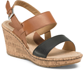 Olivia Cork Leather Wedges