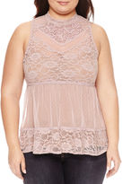 Boutique + + Sleeveless Mock Neck Knit Blouse-Plus