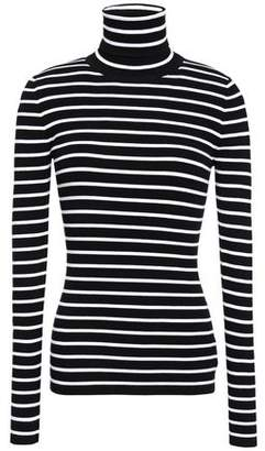 Michael Kors Striped Ribbed-knit Turtleneck Top