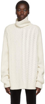 Haider Ackermann Off-White Cable and Ribbed Turtleneck