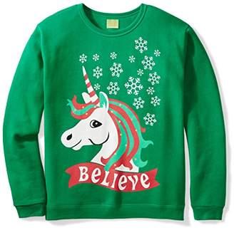 Ugly Fair Isle Unisex Fleece Believe Unicorn Crewneck Christmas Sweater