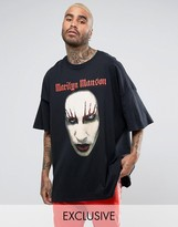 Reclaimed Vintage Inspired Marilyn Manson Super Oversized Band T-Shirt In Black