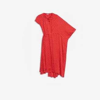 Balenciaga Side Pull Dress in red and white polkadot printed typo jacquard silk