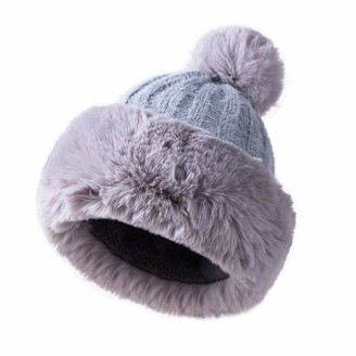 YOUMU Women Faux Fur Knitted Bobble Beanie Hat Pom Pom Ball Cossack Russian Winter (Grey)