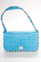 Lulu Guinness Light Blue Straw Multi Color Contrast Shoulder Handbag