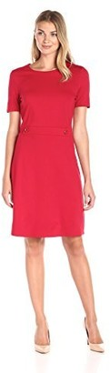 Lark & Ro Amazon Brand Women's Short Sleeve Button Sheath Dress