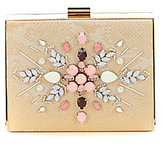 Kate Landry Beaded Reptile Box Frame Clutch