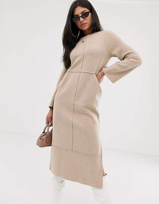 Asos Design DESIGN super soft exposed seam patch pocket midi dress in camel-Beige