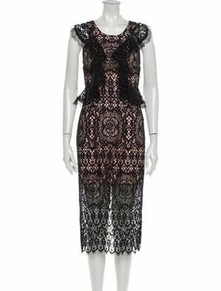 Alexis Lace Pattern Midi Length Dress Black