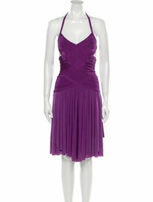 Herve Leger Halterneck Mini Dress Purple