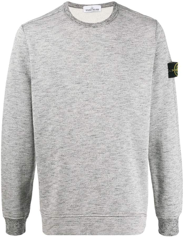 Stone Island logo-patch marled sweatshirt