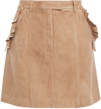 7 For All Mankind Ruffle-trimmed Suede Mini Skirt