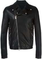 Versus studded leather jacket - men - Cotton/Goat Skin/Polyester/Viscose - 48