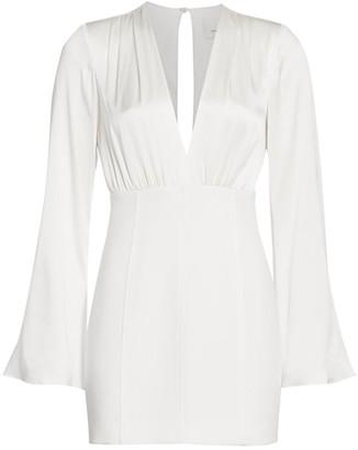 Cinq à Sept Sandy Satin V-Neck Sheath Dress